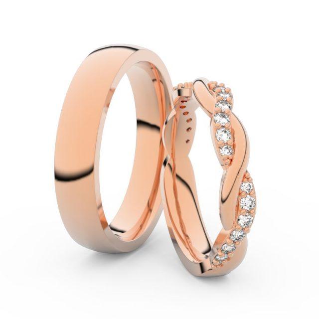 Snubní prsteny z růžového zlata s brilianty, pár Danfil DF 3953