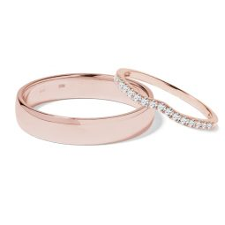Snubní prsteny z růžového zlata a diamanty 0,22 ct, pár, Klenota