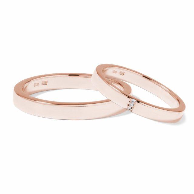 Snubní prsteny z růžového zlata se třemi diamanty, pár, Klenota