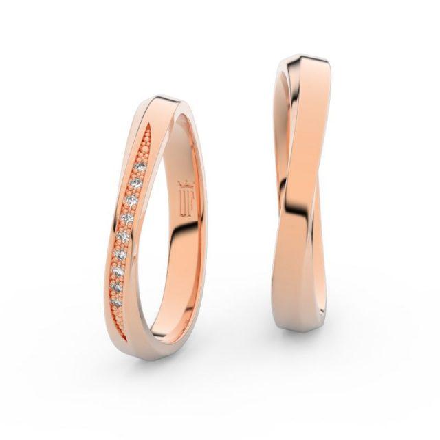 Snubní prsteny z růžového zlata se zirkony, pár – Danfil DF 3017