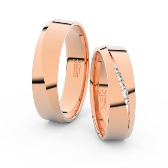 Snubní prsteny z růžového zlata se zirkony, pár – Danfil DF 3034