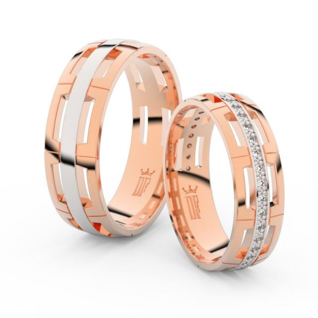 Snubní prsteny z růžového zlata se zirkony, pár – Danfil DF 3048