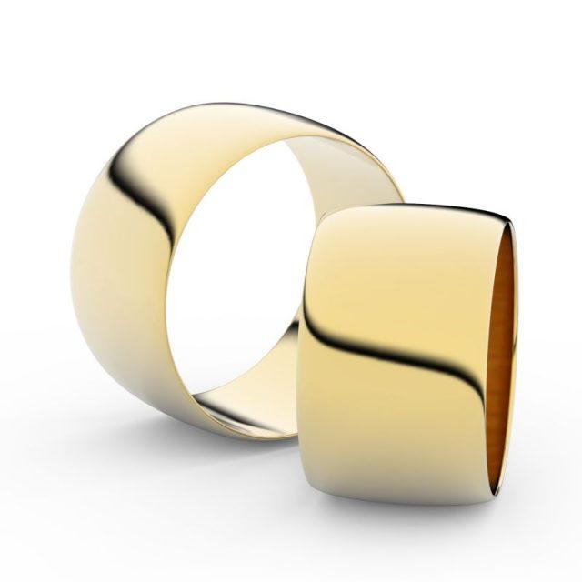 Snubní prsteny ze žlutého zlata, 11 mm, půlkulatý, pár – Danfil DF 9C110