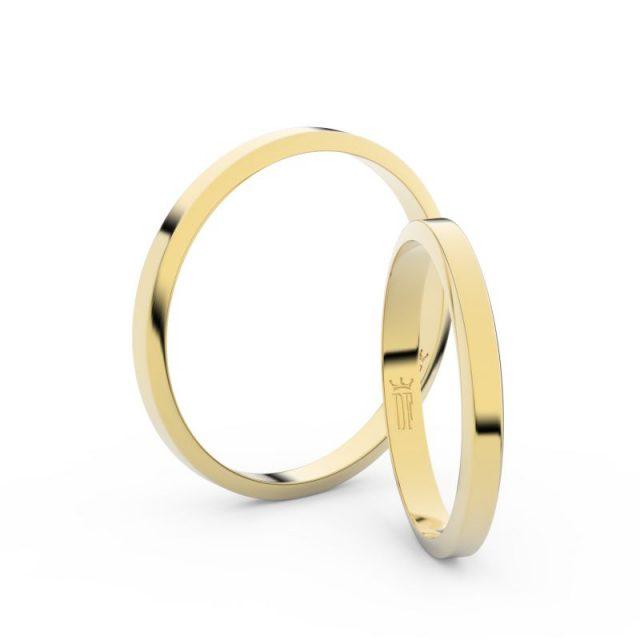Snubní prsteny ze žlutého zlata – pár, 2.3 mm, Danfil DF 4A25