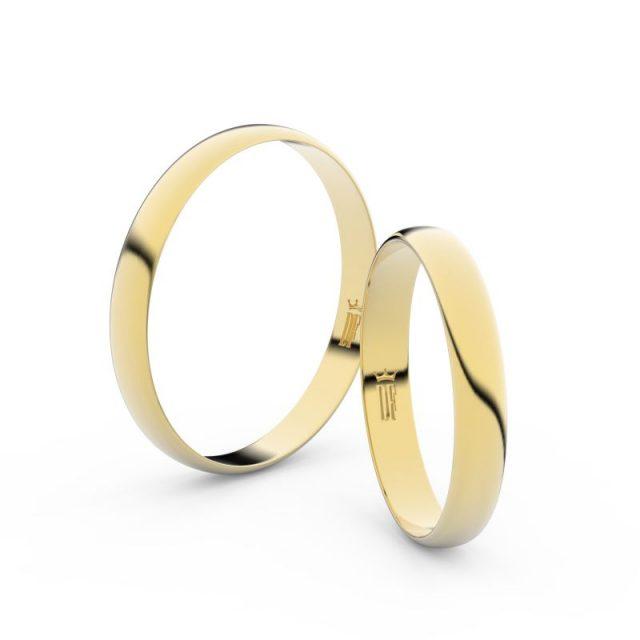 Snubní prsteny ze žlutého zlata – pár, 3 mm, Danfil DF 4D30