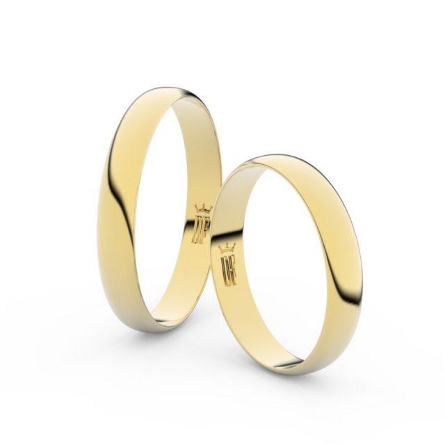 Snubní prsteny ze žlutého zlata – pár, 3.4 mm, Danfil DF 4C35