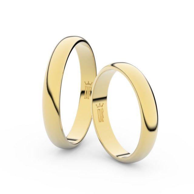 Snubní prsteny ze žlutého zlata – pár, 3.5 mm, Danfil DF 2B35