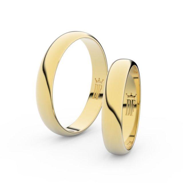 Snubní prsteny ze žlutého zlata – pár, 4 mm, Danfil DF 2D40