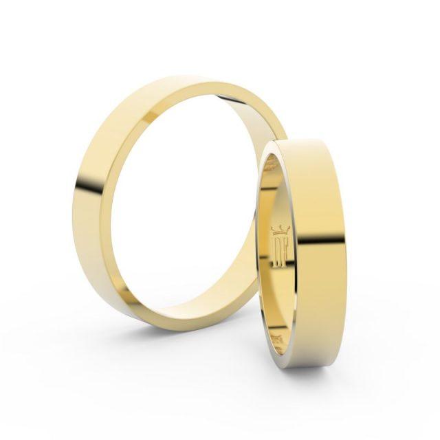 Snubní prsteny ze žlutého zlata – pár, 4 mm, Danfil DF 1G40