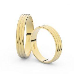 Snubní prsteny ze žlutého zlata - pár, 4 mm, Danfil DF 4K37