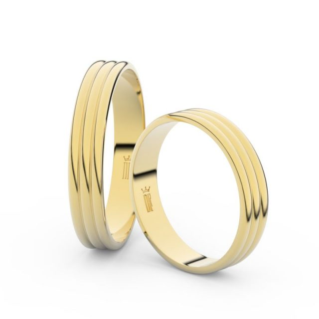 Snubní prsteny ze žlutého zlata – pár, 4 mm, Danfil DF 4K37