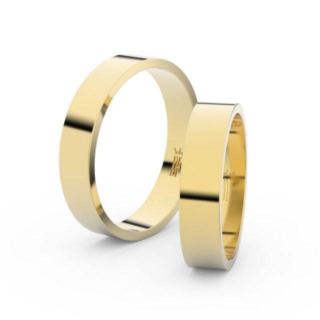 Snubní prsteny ze žlutého zlata – pár, 4.5 mm, Danfil DF 1G45