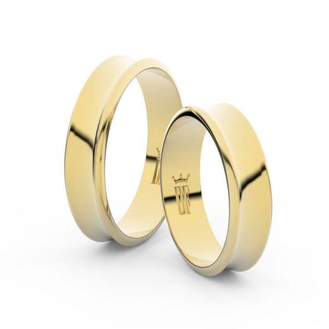 Snubní prsteny ze žlutého zlata – pár, 5 mm, Danfil DF 5A50