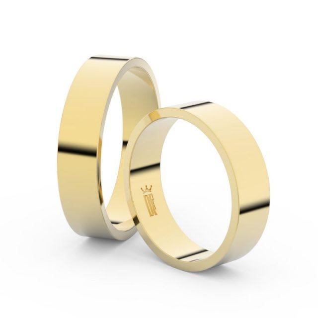 Snubní prsteny ze žlutého zlata – pár, 5 mm, Danfil DF 1G50