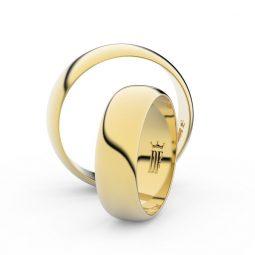 Snubní prsteny ze žlutého zlata - pár, 6 mm, Danfil DF 3A60
