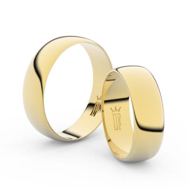 Snubní prsteny ze žlutého zlata – pár, 6 mm, Danfil DF 9A60