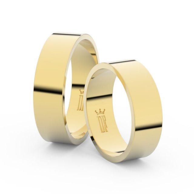 Snubní prsteny ze žlutého zlata – pár, 6 mm, Danfil DF 1G60