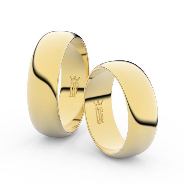 Snubní prsteny ze žlutého zlata – pár, 6.5 mm, 3B65