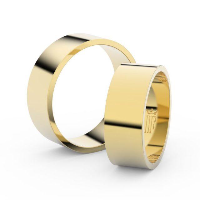 Snubní prsteny ze žlutého zlata – pár, 7 mm, Danfil DF 1G70