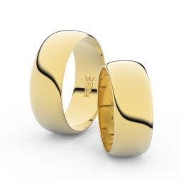 Snubní prsteny ze žlutého zlata - pár, 7.5 mm, Danfil DF 3C75