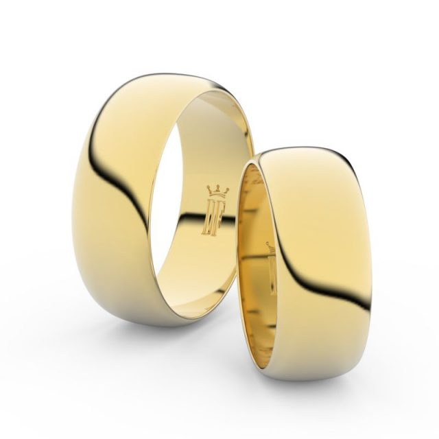 Snubní prsteny ze žlutého zlata – pár, 7.5 mm, Danfil DF 3C75