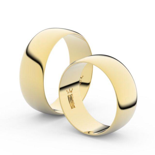 Snubní prsteny ze žlutého zlata, 7.5 mm, pár, Danfil DF 9B80