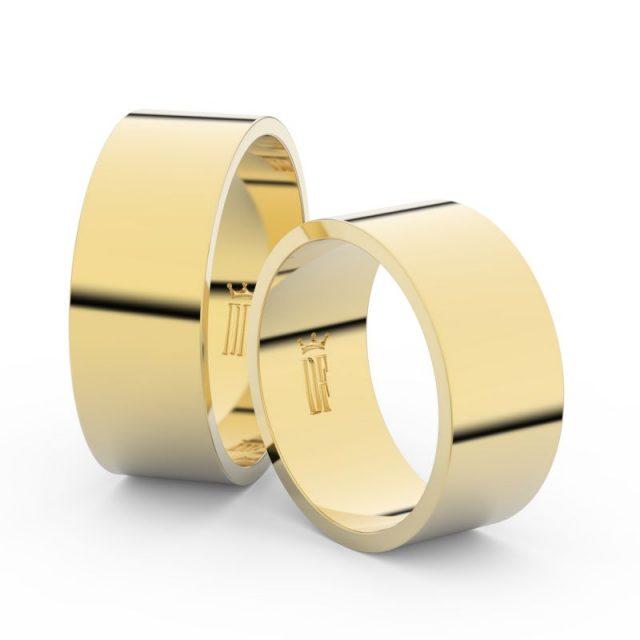 Snubní prsteny ze žlutého zlata – pár, 8 mm, Danfil DF 1G80