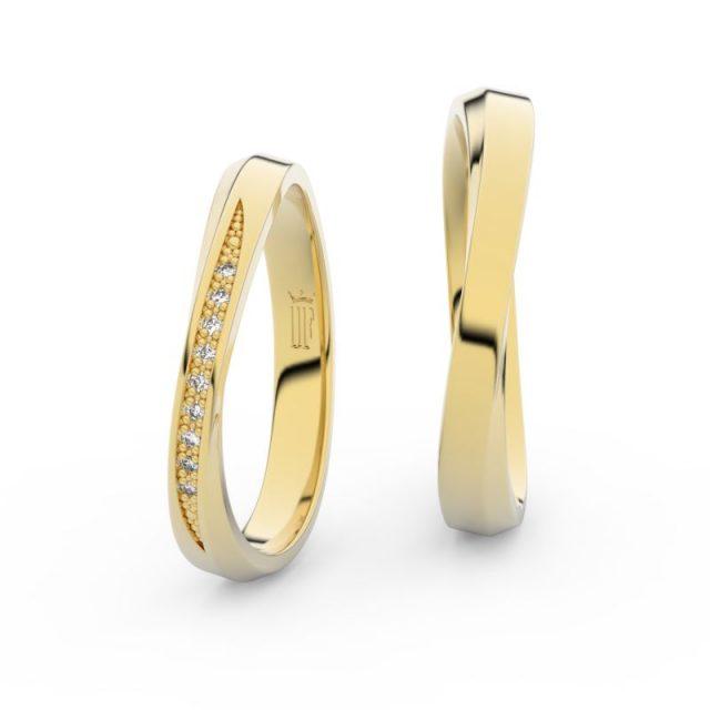 Snubní prsteny ze žlutého zlata s brilianty – pár, Danfil DF 3017