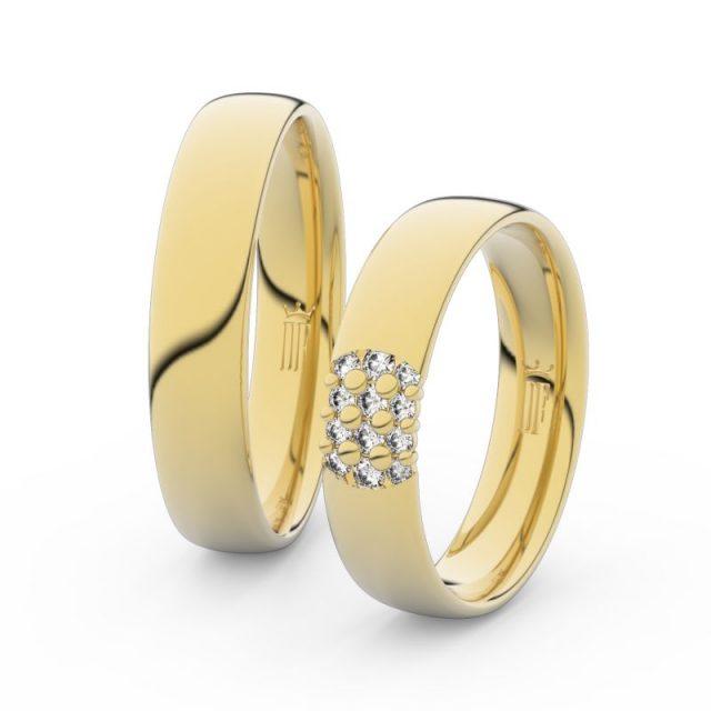 Snubní prsteny ze žlutého zlata s brilianty – pár, Danfil DF 3021