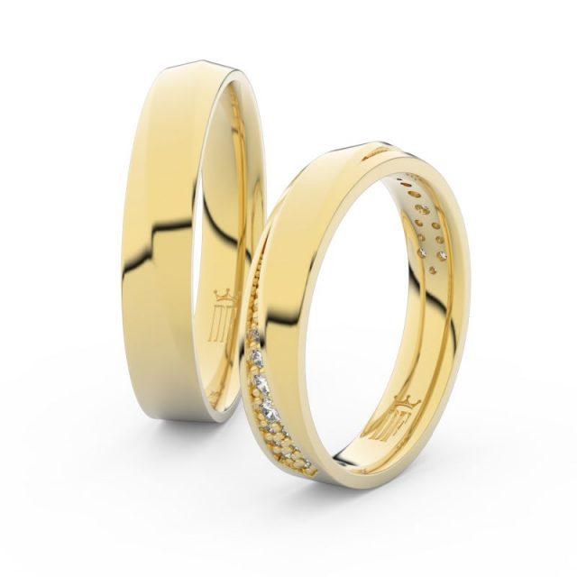 Snubní prsteny ze žlutého zlata s brilianty – pár, Danfil DF 3025