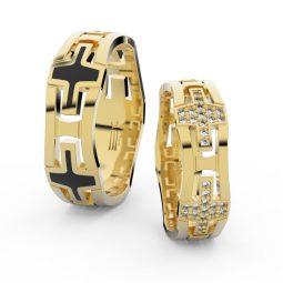 Snubní prsteny ze žlutého zlata s brilianty - pár, Danfil DF 3042