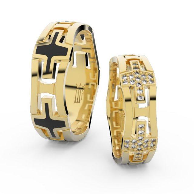 Snubní prsteny ze žlutého zlata s brilianty – pár, Danfil DF 3042