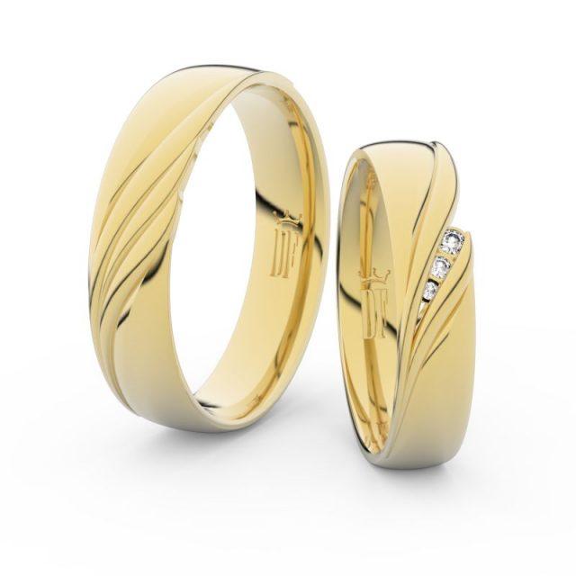 Snubní prsteny ze žlutého zlata s brilianty – pár, Danfil DF 3044