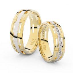 Snubní prsteny ze žlutého zlata s brilianty - pár, Danfil DF 3048