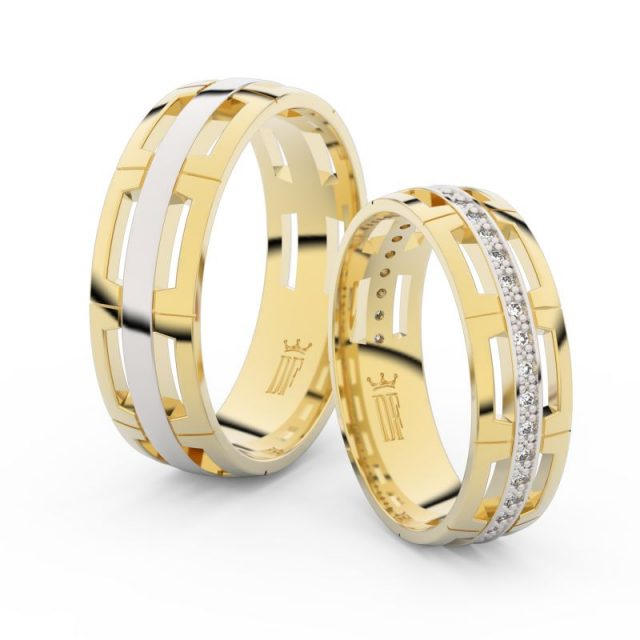 Snubní prsteny ze žlutého zlata s brilianty – pár, Danfil DF 3048