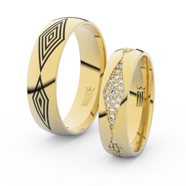 Snubní prsteny ze žlutého zlata s brilianty – pár, Danfil DF 3074