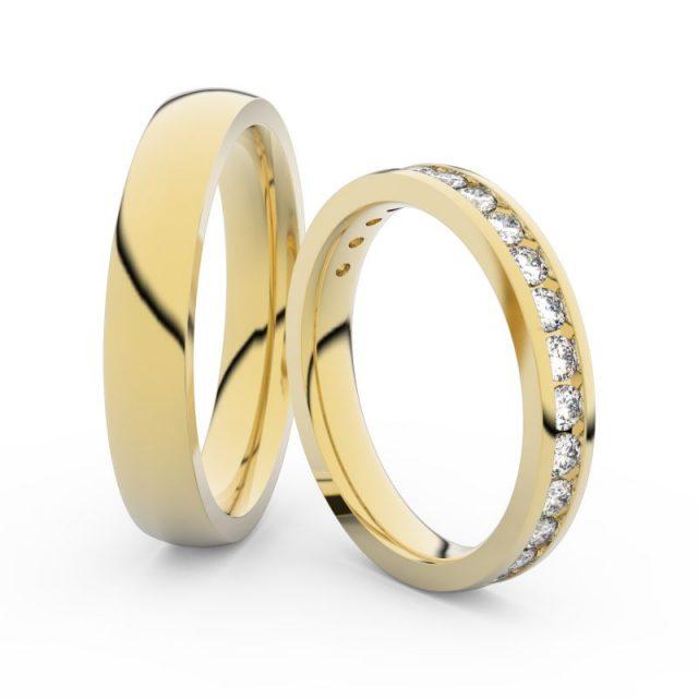 Snubní prsteny ze žlutého zlata s diamanty, pár, Danfil DF 3894