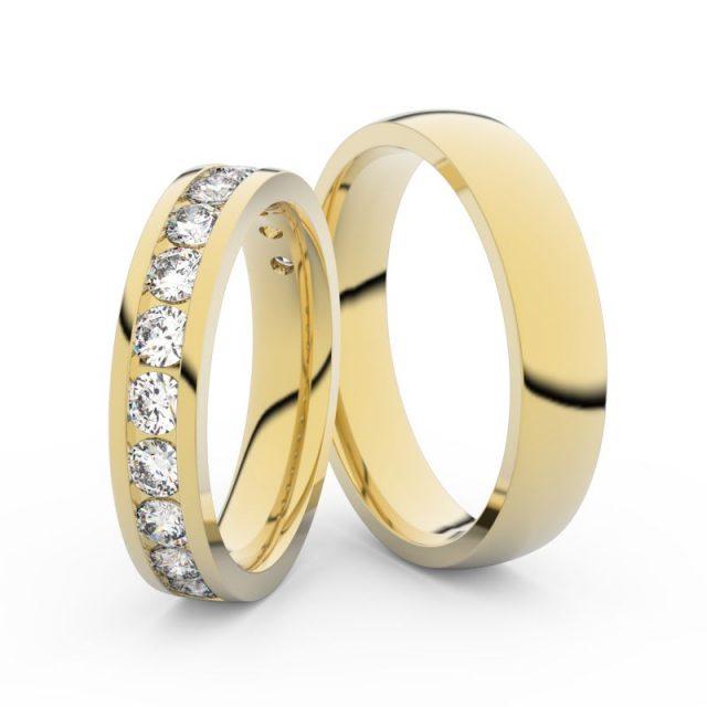 Snubní prsteny ze žlutého zlata s diamanty, pár, Danfil DF 3895