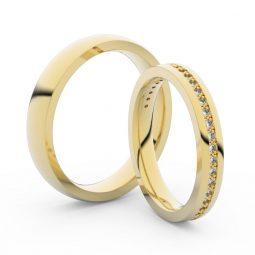 Snubní prsteny ze žlutého zlata s diamanty, pár, Danfil DF 3896