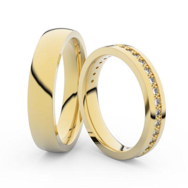Snubní prsteny ze žlutého zlata s diamanty, pár, Danfil DF 3897