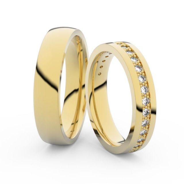 Snubní prsteny ze žlutého zlata s diamanty, pár, Danfil DF 3898