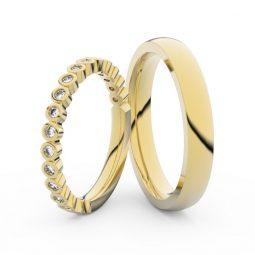 Snubní prsteny ze žlutého zlata s brilianty, pár, Danfil DF 3899