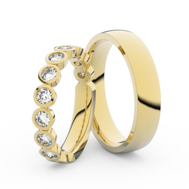 Snubní prsteny ze žlutého zlata s diamanty, pár, Danfil DF 3901