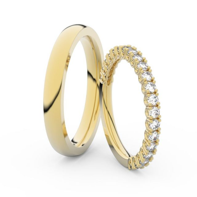 Snubní prsteny ze žlutého zlata s diamanty, pár, Danfil DF 3902