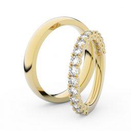 Snubní prsteny ze žlutého zlata s diamanty, pár, Danfil DF 3903