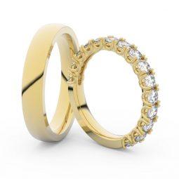 Snubní prsteny ze žlutého zlata s diamanty, pár, Danfil DF  - 3904