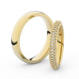 Snubní prsteny ze žlutého zlata s brilianty, pár - Danfil DF 3911