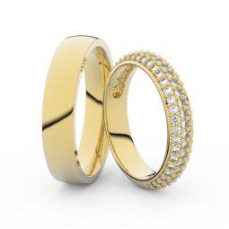Snubní prsteny ze žlutého zlata s diamanty, pár, Danfil DF 3912