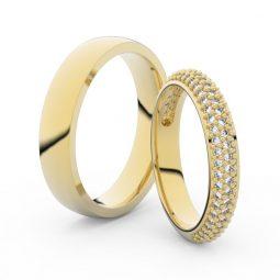 Snubní prsteny ze žlutého zlata s brilianty, pár - Danfil DF 3918