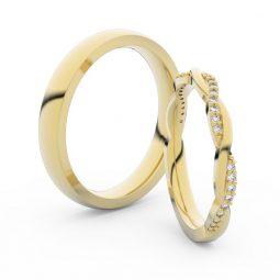 Snubní prsteny ze žlutého zlata s brilianty, pár - Danfil DF 3951